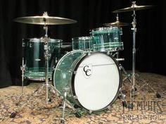 C and C Custom Acrylic Drum Set - Coke Bottle Green w/Awabi Stripes