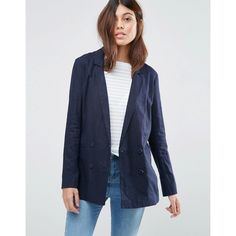 ASOS Tailored Linen Blazer ($59) ❤ liked on Polyvore featuring outerwear, jackets, blazers, navy, navy blue jacket, tall jackets, asos blazer, blazer jacket and tall blazer