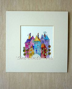 A colourful, quirky Ink and watercolour painting of houses. I like to create my unique little houses from those around me, changing them, adding colour and a little fun.  These houses look very formal as though they are on their very best behaviour wonder who they are waiting for!  You'll usually find some washing, old TV aerials maybe a cat but there are loads of little flourishes added wherever the mood takes me. Drawn in ink and painted with watercolour on rough watercolour paper. I have…