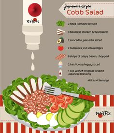 Japanized Cobb salad brings an authentic Japanese flavour to this classic salad. Classic Salad, Ways To Stay Healthy, Boneless Chicken Breast, Lettuce, Cobb Salad, Bacon, Salads, Japanese, Vegetables