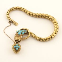 Antique Victorian Turquoise Diamond Gold Serpent Locket/Bracelet image 3