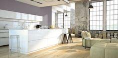 Prostota formy, perfekcyjnie uporządkowana przestrzeń, chłodna tonacja barw – to propozycja dla zwolenników nowoczesnych, minimalistycznych aranżacji. Naturalne drewno na podłodze nieco ociepla typowe dla loftów zestawienie odcieni bieli i szarości.