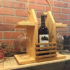 Caddy vino rústico portador del vino totalizador por CraftsbyDerek
