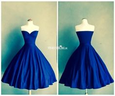 Vintage Prom Dresses | 1950s Retro Sweetheart Knee Short A Line Royal Blue Pin up Style Prom ...