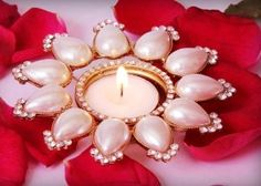 Lotus Flower Diya Votive Holder Tea light Candle holder For Diwali. Price - £18.99