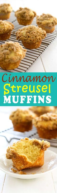 If you love coffee cake, you'll love these cinnamon streusel muffins! Soft vanilla muffins topped with brown sugar crumbles. Perfect for a weekend brunch or breakfast on the go!