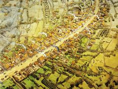 Bibracte, oppidum of the Aedui (Mont Beuvray, Burgundy, France). Artist's reconstruction of artisanal quarter (Côme Chaudron et du Champlain) which includes the workshops of metalworkers and enamellers. Finds from this area date to the 1st half of the 1st century BC. From Goudineau and Peyre 1993: 131.