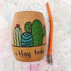 Painted Plant Pots, Pottery Painting Designs, Diy Bow, Diy And Crafts, Facebook, Handmade, Cactus Art, Painting Tips, Vase Crafts