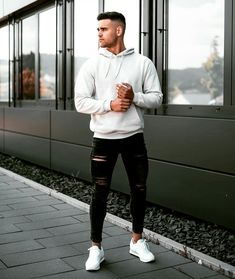 Stylish Men, Men Casual, Mens Style Guide, Hoodie Outfit, Basic Outfits, Mode Style, Mens Clothing Styles, Men Fashion, Ideas