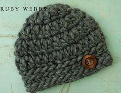 Baby Boy's crochet Alpaca hat in the color Grey Wolf by rubywebbs, $26.00