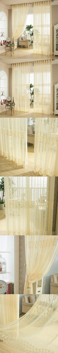 Luxury Tulle Voile Curtains Window Screening Cortinas Beige Flower Jacquard Home Decoration Curtain Living Room $33