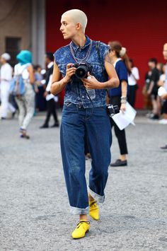 Double Denim Lady | Street Fashion | Street Peeper | Global Street Fashion and Street Style