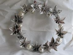 Mercury glass and newspaper origami wreath with mini-tutorial - OCCASIONS AND HOLIDAYS