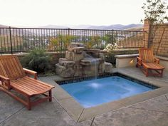 Simple stone Swimming Pool Spas With waterfalls and spillways