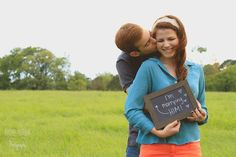 "Engagement photos with props are so cute and fun! ""I'm marrying him"" sign. Taken by Rachel Autumn photography"