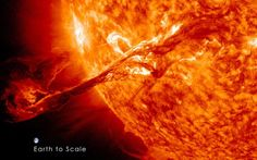 A NASA satellite spots a HUGE Coronal Mass Ejection (CME) from the Sun. This is a REAL image made from combined wavelengths. The CME was not aimed directly at Earth, but did cause auroral activity on September Image courtesy NASA SDO Cosmos, Space Images, Space Photos, Stars Night, Les Satellites, Nasa Goddard, Astronomy Pictures, Hubble Pictures, E Mc2