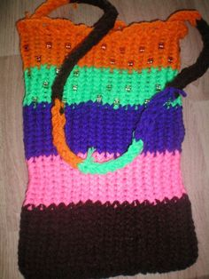 Loom knitted bag......