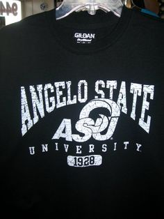 Angelo State University Gildan Dry Blend Black with White distressed print T-Shirt $15.95
