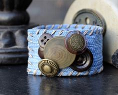 Denim Cuff Bracelet with Shades of Brown Vintage Buttons Accented with Beads 266692387 by AllintheJeans on Etsy