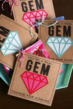 "love these birthday ideas from eighteen 25 to make your loved ones birthdays a touch more special. these ""you're a real gem"" party favors are darling. especially for a tween party"