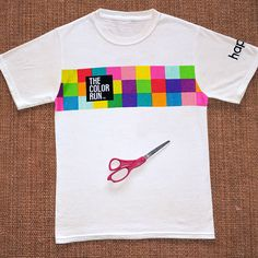 Get creative with our DIY tutorial to make your shirt as unique as you are. Don't worry, new sewing required. A pair of scissors and your awesome The Color Run shirt will do the trick.
