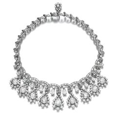 Diamond necklace, late 1960s. Of ribbon design, set with drop shaped motifs framing cushion-shaped diamonds, highlighted throughout with brilliant-cut diamonds, further accented with pear-shaped and baguette diamonds, inner circumference approximately 355mm.