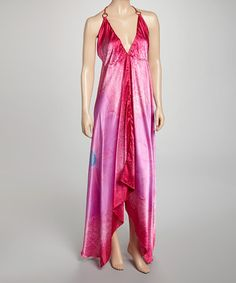 Take a look at this Pink & Purple Flower Halter Dress by India Boutique on #zulily today!