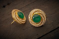 Indian Jewellery and Clothing: Elegant earrings from Kushal's fashion jewellery. Emerald Jewelry, Gold Jewelry, Emerald Gemstone, Jewellery Earrings, Emerald Earrings, Diamond Earrings Indian, Dainty Jewelry, Gold Earrings Designs, India Jewelry