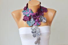 crochet lariat ,flower  crochet  lariat scarf. $19.00, via Etsy.