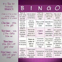 Facebook party games...love this!! Book your facebook party today. Www.pamperedchef.biz/LindaLauas