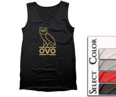 OVO Owl Mens Tank  Gold Print  OVOXO tshirt OWL t by Sevenshirt, $14.95