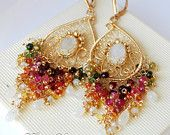RESERVED for Candice-Moon garden-14k goldfill,watermelon tourmaline,Songea sapphire and rainbow moonstone chandelier earrings
