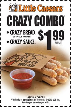Little Caesars > Coupons - Crazy Bread, Pizza Coupons Pizza Hut, Bread Pizza, Crazy Bread, Pizza Coupons, Pizza Restaurant, Favourite Pizza, Online Coupons, Printable Coupons, Sweet Potato