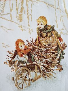 Lanarte cross stitch kit of Children collecting wood with wheelbarrow in the snow with multilingual instructions on 10 count even weave fabric brought to you by KindredClassics on Etsy Cross Stitch Thread, Cross Stitch Fabric, Cross Stitch Patterns, Tapestry Kits, Seat Covers For Chairs, Needlepoint Kits, Wheelbarrow, Stitch Kit, Winter Scenes