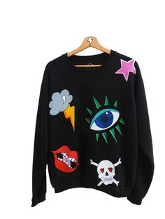 """The """"Candy Mix"""" sweatshirt is a colorful mix of hand painted designs created solely for this piece. It's rock n' roll & bitter sweet, just the way we like it!  Haindpainted One of a Kind Piece  www.mart-productions.com"""