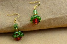 Beaded red and green earrings PATTERN tutorial - easy  Pandahall