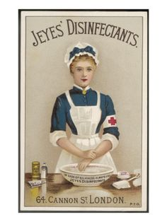 A Nurse washes her hands with Jeyes' Disinfectant to prevent sickness and infection. ~ Vintage trade card, ca. 1900s