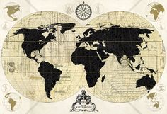 Vintage World Map - Tapetit / tapetti - Photowall