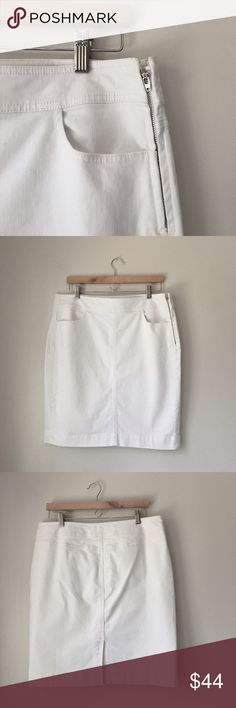 """Ann Taylor LOFT white Stretch Denim Pencil Skirt Stunning NWOT White stretch denim pencil skirt by Ann Taylor LOFT. 98% cotton 2% spandex. Two front pockets. Rear vent. Size 12. Waist: approx. 16"""" seam to seam (32"""" around) Length: 20 1/2"""" Hips 19"""" seam to seam across the front. LOFT Skirts Pencil"""