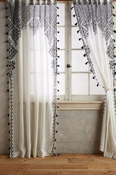 Adalet Curtain | Moroccan-inspired print | translucent window covering | Black and White | additional Colors
