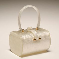 Vintage white pearlescent handbag by Wilardy, New York, 1950's