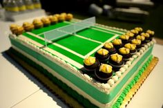 Tennis court cake and cupcakes