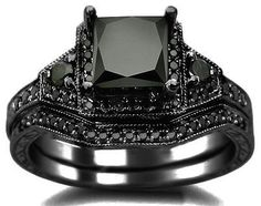 Black Wedding Set... whoa. i don't care for really fancy or expensive jewelry but i think i could actually rock this one