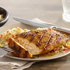 Liven up grilled chicken with a Moroccan-inspired marinade of lemon juice, olive oil, honey and aromatic spices. Massaging the marinade into the chicken for just five minutes gives you maximum flavor without needing marinating time in the refrigerator.