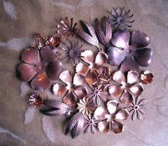 Vintage, metal, copper, brass flowers,beads