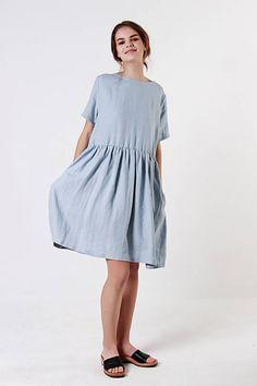 Leinen bläulich Grau Leinen Kleid Rüschen Taille
