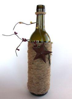 FREE SHIPPING! Wine bottle,Primitive decor, Decorated wine bottle,Rustic gift, Twine wine bottle on Etsy, $18.00