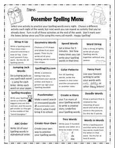 12 Monthly Spelling Menus (editable and non-editable versions) PLUS 72 Spelling Activity Cards included! Spelling Menu, Spelling Ideas, Spelling Practice, Spelling Activities, Spelling Words, Writing Activities, Teaching Poetry, Primary Teaching, Substitute Binder