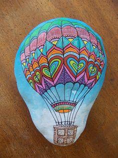 Big hand painted rock,Hot air balloon by Pebble Painting by Rania Papadatou