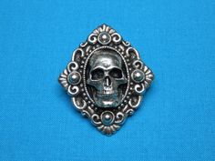 Human Skull 3D 925 Sterling Silver Clip On Charm Soldered On Clasp Moving Jaw